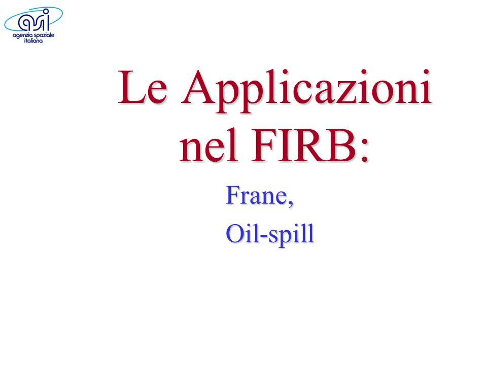 Le Applicazioni nel FIRB: Frane,Oil-spill