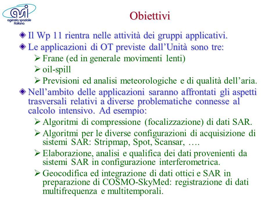 Le Unità Operative (UO) del Wp11 Le quattro unità i cui finanziamenti passano per lUR n.6 ASI sono: CGS/ASI (Matera), Responsabile dr.