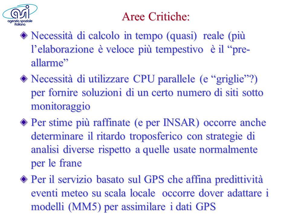 Aree Critiche: Necessità di calcolo in tempo (quasi) reale (più lelaborazione è veloce più tempestivo è il pre- allarme Necessità di utilizzare CPU pa
