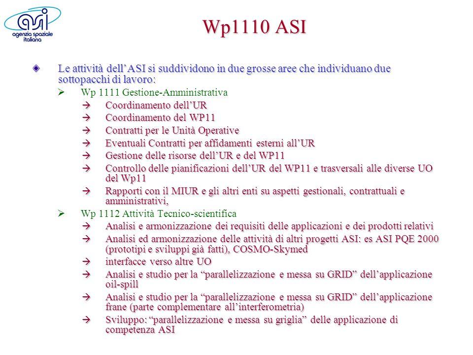 Wp1110 ASI Le attività dellASI si suddividono in due grosse aree che individuano due sottopacchi di lavoro: Wp 1111 Gestione-Amministrativa Coordiname