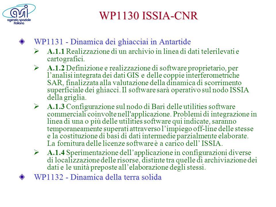 WP1130 ISSIA-CNR WP1131 - Dinamica dei ghiacciai in Antartide A.1.1 Realizzazione di un archivio in linea di dati telerilevati e cartografici. A.1.2 D