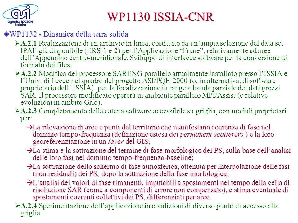 WP1140 PoliBari WP1141 Dipartimento di Fisica Coregistrazione di immagini SAR ERS-1/2 anche per alti valori di baseline temporale e spaziale (DORIS – Delft University, software proprietario).