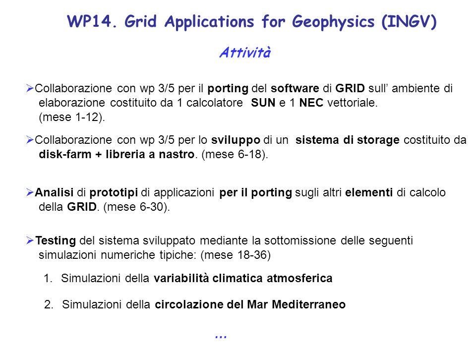 WP14. Grid Applications for Geophysics (INGV) Attività Collaborazione con wp 3/5 per il porting del software di GRID sull ambiente di elaborazione cos
