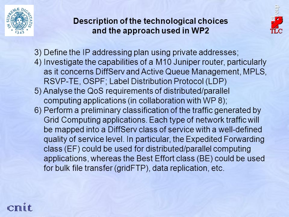 3) Define the IP addressing plan using private addresses; 4) Investigate the capabilities of a M10 Juniper router, particularly as it concerns DiffServ and Active Queue Management, MPLS, RSVP-TE, OSPF; Label Distribution Protocol (LDP) 5) Analyse the QoS requirements of distributed/parallel computing applications (in collaboration with WP 8); 6) Perform a preliminary classification of the traffic generated by Grid Computing applications.