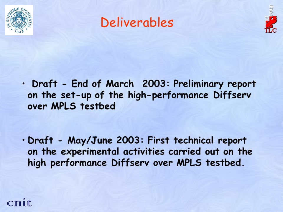 Deliverables Draft - End of March 2003: Preliminary report on the set-up of the high-performance Diffserv over MPLS testbed Draft - May/June 2003: First technical report on the experimental activities carried out on the high performance Diffserv over MPLS testbed.