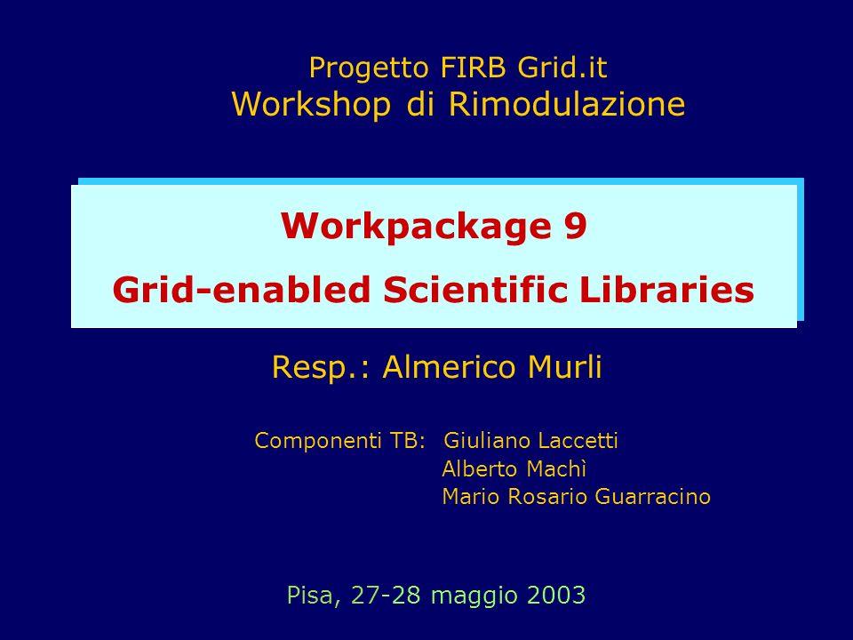 Resp.: Almerico Murli Componenti TB: Giuliano Laccetti Alberto Machì Mario Rosario Guarracino Pisa, 27-28 maggio 2003 Progetto FIRB Grid.it Workshop d