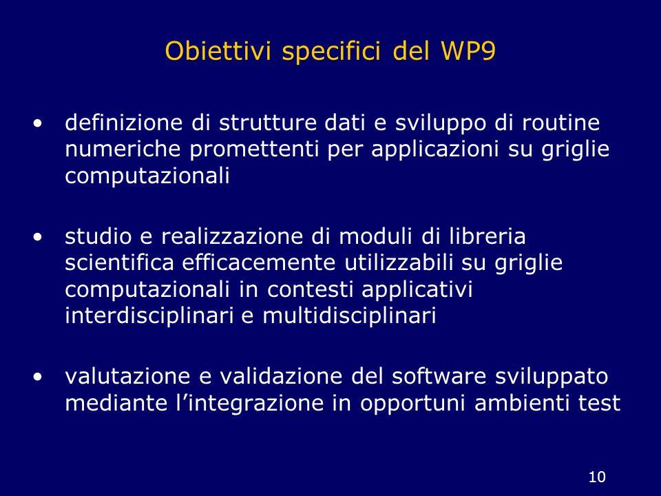 10 Obiettivi specifici del WP9 definizione di strutture dati e sviluppo di routine numeriche promettenti per applicazioni su griglie computazionali st