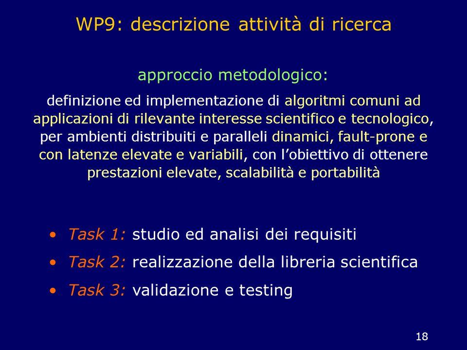 18 WP9: descrizione attività di ricerca approccio metodologico: definizione ed implementazione di algoritmi comuni ad applicazioni di rilevante intere
