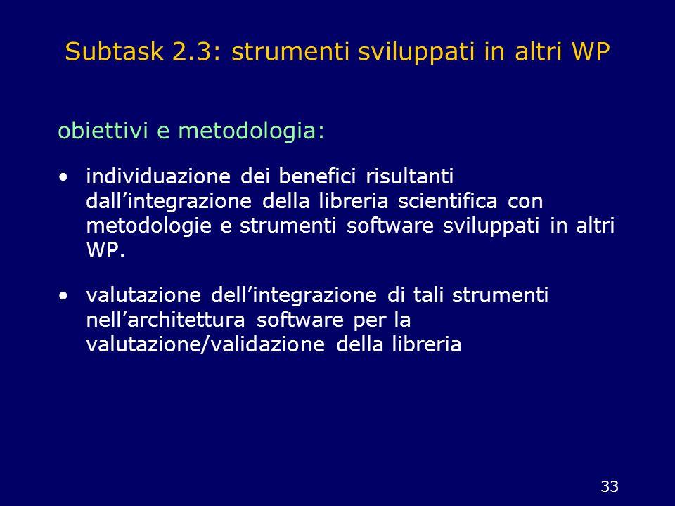 33 Subtask 2.3: strumenti sviluppati in altri WP obiettivi e metodologia: individuazione dei benefici risultanti dallintegrazione della libreria scien