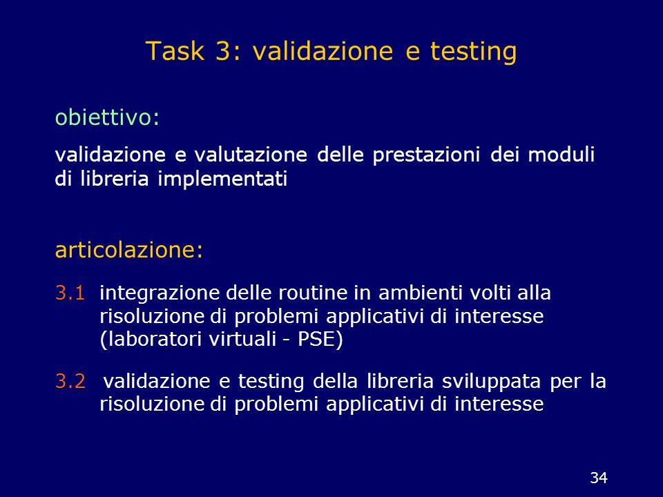 34 Task 3: validazione e testing obiettivo: validazione e valutazione delle prestazioni dei moduli di libreria implementati articolazione: 3.1 integra