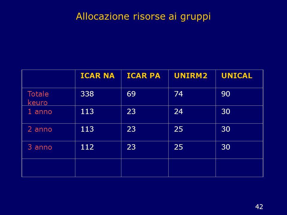 42 Allocazione risorse ai gruppi ICAR NAICAR PAUNIRM2UNICAL Totale keuro 338697490 1 anno113232430 2 anno113232530 3 anno112232530