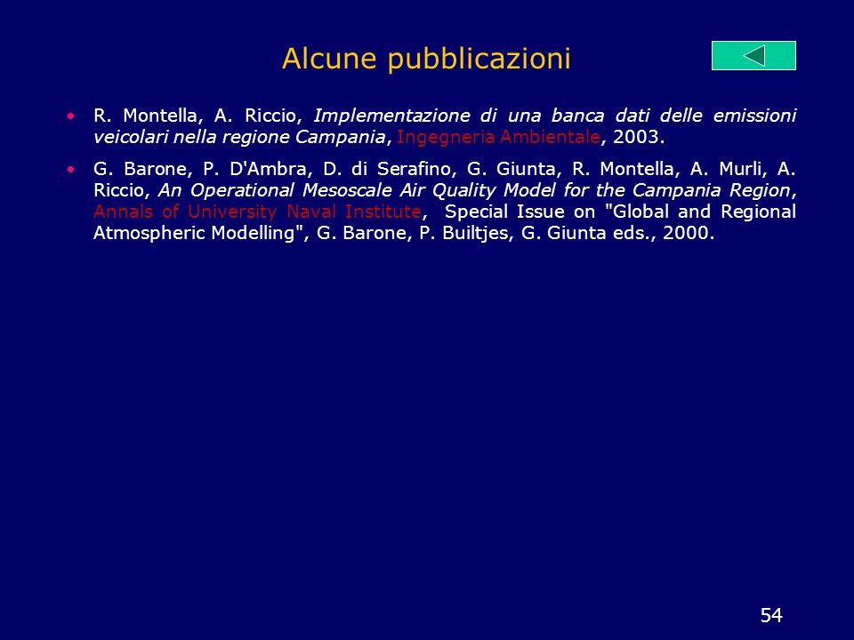 54 Alcune pubblicazioni R. Montella, A. Riccio, Implementazione di una banca dati delle emissioni veicolari nella regione Campania, Ingegneria Ambient