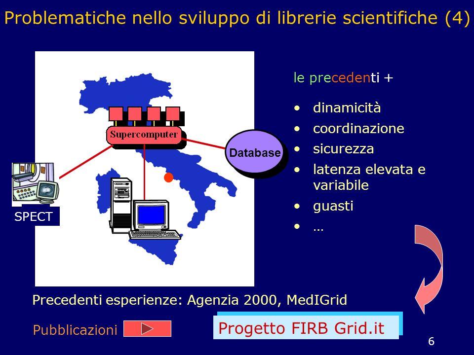 7 Grid-flow applications Supercomputer Database Le risorse sono allocate staticamente e i task sono eseguiti sui nodi della griglia computazionale secondo uno schema data-flow Le risorse sono allocate dinamicamente; lapplicazione controlla lo stato della griglia e si riconfigura automaticamente Grid-aware applications