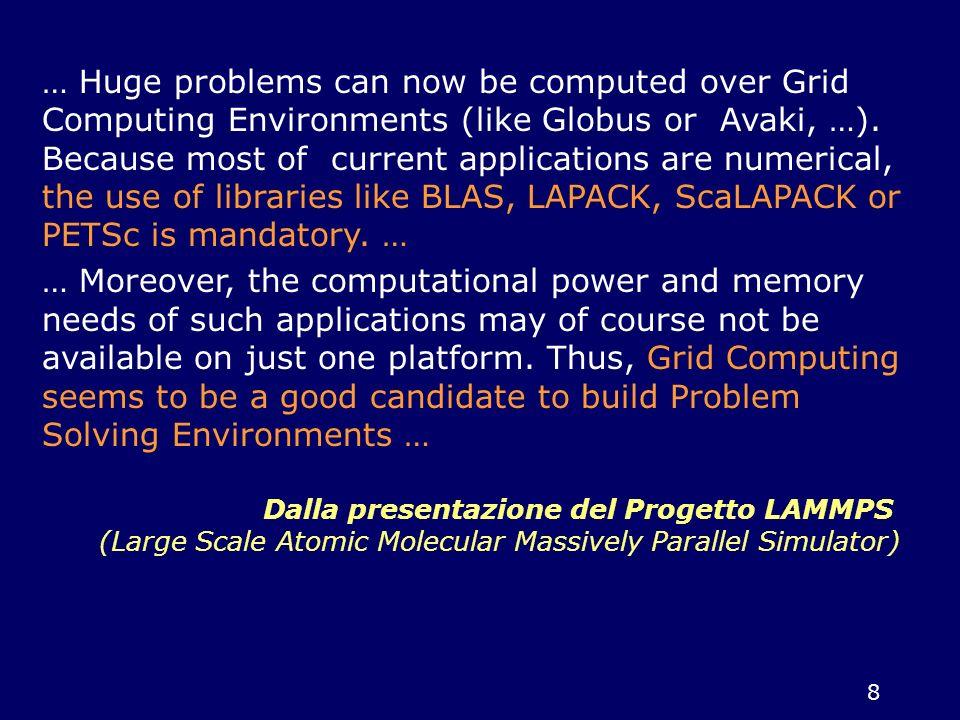 9 Obiettivi generali del WP9 studio delle problematiche relative alla realizzazione di una libreria di software scientifico efficiente, affidabile e scalabile in ambienti computazionali di tipo griglia.