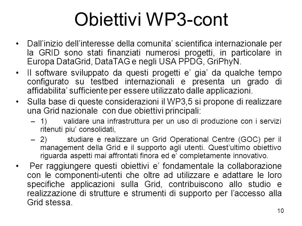 10 Obiettivi WP3-cont Dallinizio dellinteresse della comunita scientifica internazionale per la GRID sono stati finanziati numerosi progetti, in particolare in Europa DataGrid, DataTAG e negli USA PPDG, GriPhyN.