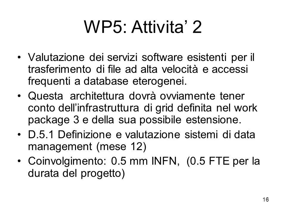 16 WP5: Attivita 2 Valutazione dei servizi software esistenti per il trasferimento di file ad alta velocità e accessi frequenti a database eterogenei.