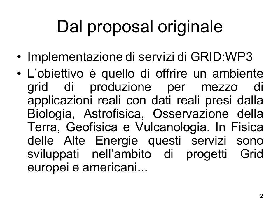 2 Dal proposal originale Implementazione di servizi di GRID:WP3 Lobiettivo è quello di offrire un ambiente grid di produzione per mezzo di applicazioni reali con dati reali presi dalla Biologia, Astrofisica, Osservazione della Terra, Geofisica e Vulcanologia.