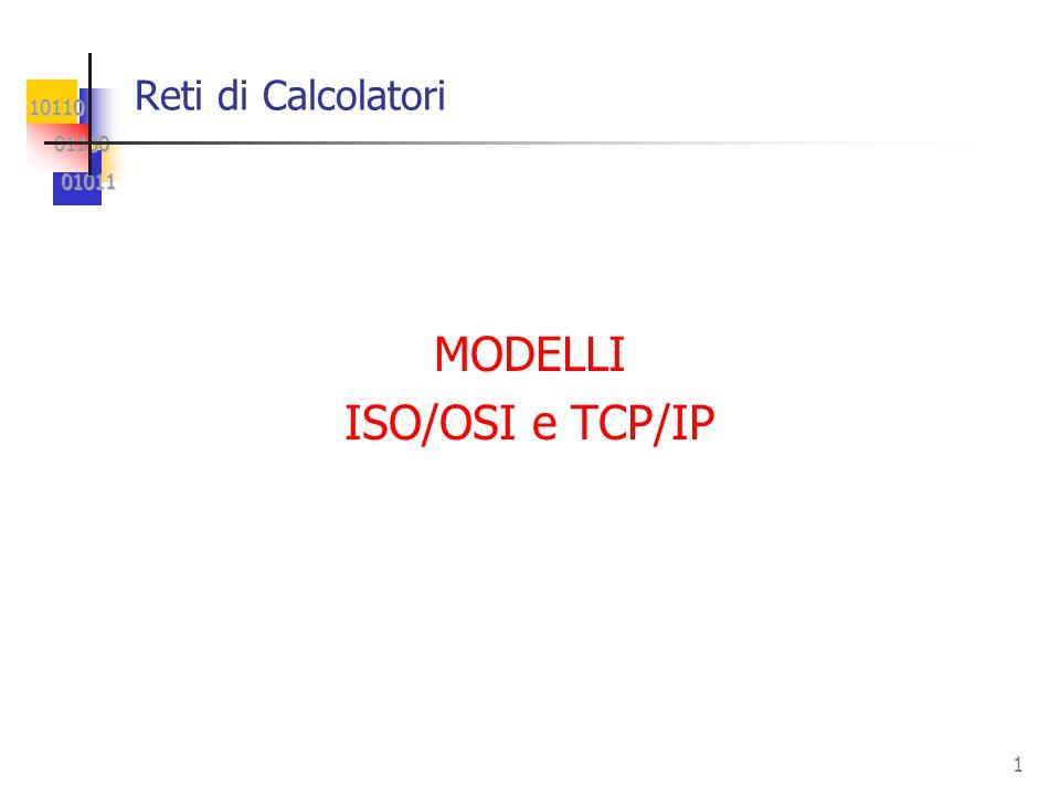 10110 01100 01100 01011 01011 1 Reti di Calcolatori MODELLI ISO/OSI e TCP/IP