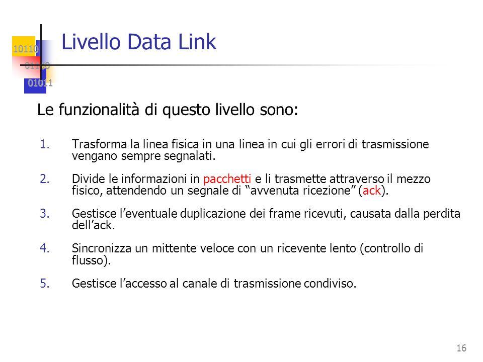 10110 01100 01100 01011 01011 16 Livello Data Link 1.Trasforma la linea fisica in una linea in cui gli errori di trasmissione vengano sempre segnalati