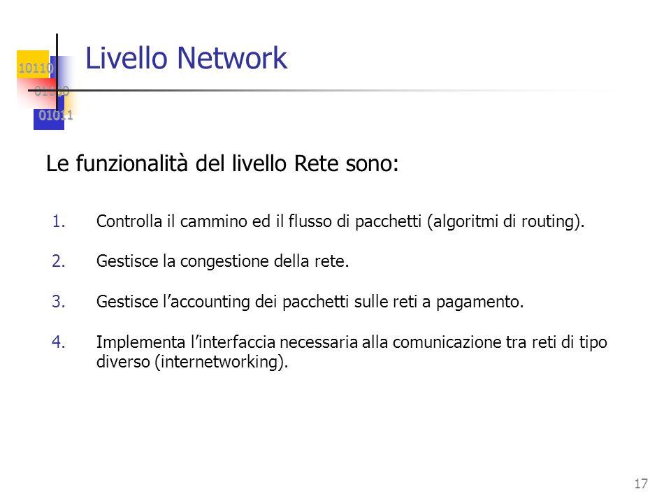 10110 01100 01100 01011 01011 17 Livello Network 1.Controlla il cammino ed il flusso di pacchetti (algoritmi di routing). 2.Gestisce la congestione de