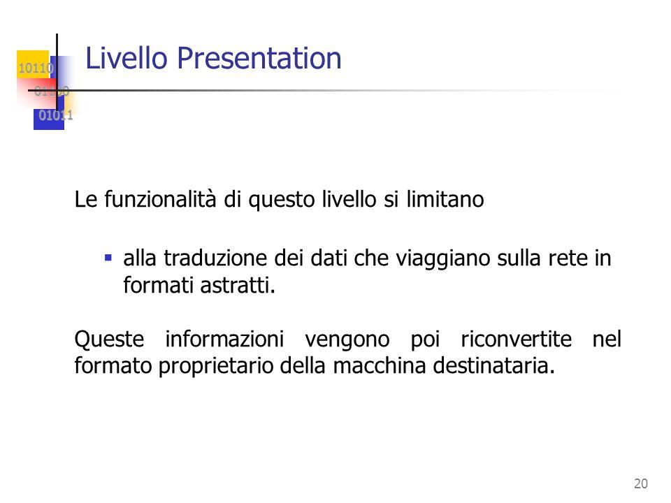 10110 01100 01100 01011 01011 20 Livello Presentation Le funzionalità di questo livello si limitano alla traduzione dei dati che viaggiano sulla rete