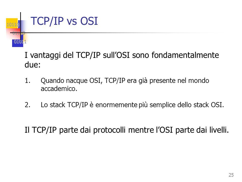 10110 01100 01100 01011 01011 25 TCP/IP vs OSI 1.Quando nacque OSI, TCP/IP era già presente nel mondo accademico. 2.Lo stack TCP/IP è enormemente più