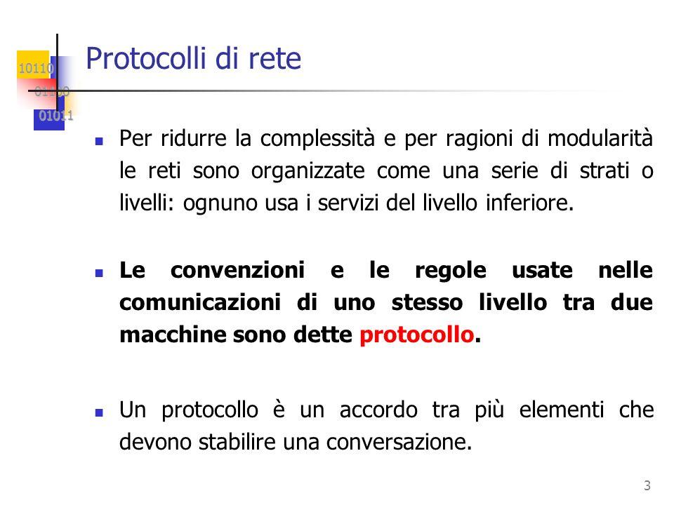 10110 01100 01100 01011 01011 3 Protocolli di rete Per ridurre la complessità e per ragioni di modularità le reti sono organizzate come una serie di s