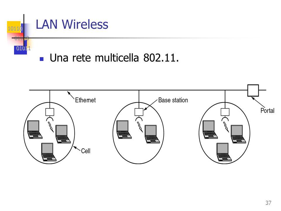 10110 01100 01100 01011 01011 37 LAN Wireless Una rete multicella 802.11.