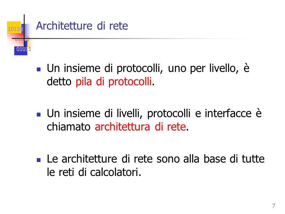 10110 01100 01100 01011 01011 7 Architetture di rete Un insieme di protocolli, uno per livello, è detto pila di protocolli. Un insieme di livelli, pro
