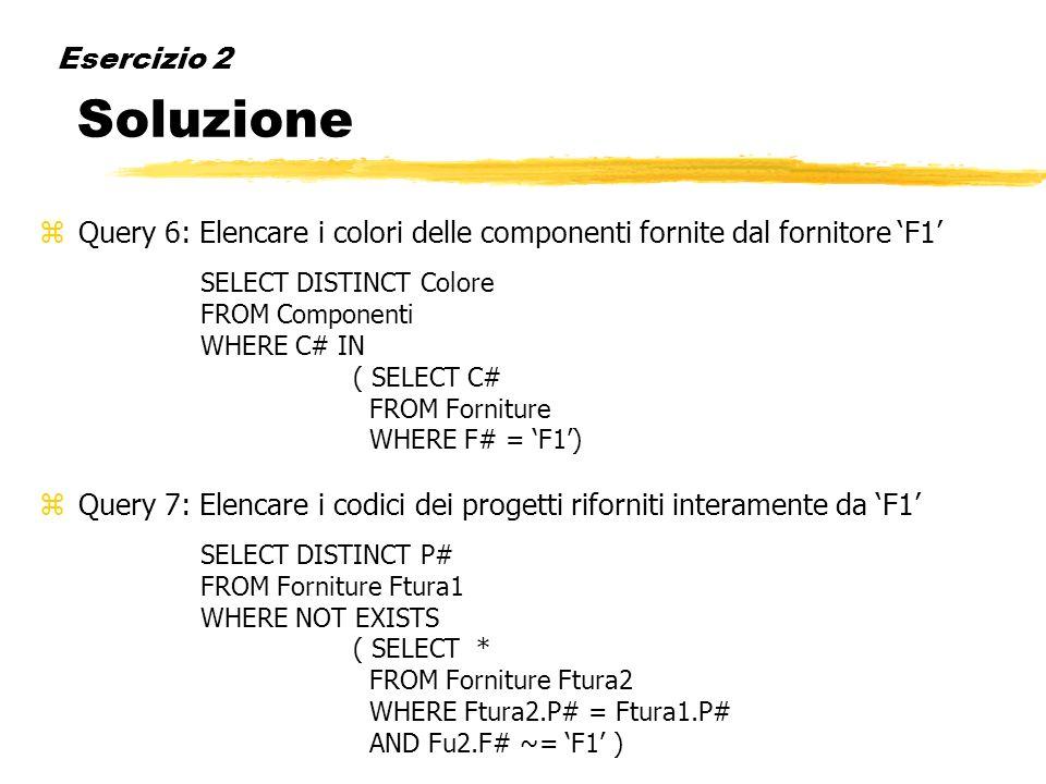 Esercizio 2 Soluzione zQuery 6: Elencare i colori delle componenti fornite dal fornitore F1 SELECT DISTINCT Colore FROM Componenti WHERE C# IN ( SELEC