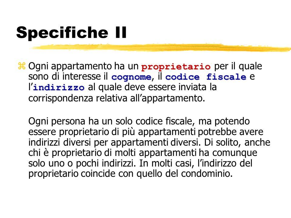 Specifiche II proprietario cognomecodice fiscale indirizzo Ogni appartamento ha un proprietario per il quale sono di interesse il cognome, il codice f