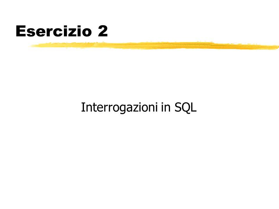 Esercizio 2 Interrogazioni SQL zConsideriamo un semplice database relazionale con il seguente schema: Fornitori (F#, Nome, Città) Componenti (C#, Nome, Colore, Peso) Progetti (P#, Nome, Città) Forniture (F#, C#, P#, Quantità) zSignificato di una tupla della tabella Forniture: Il fornitore F# rifornisce il progetto P# della componente C# nella quantità Quantità