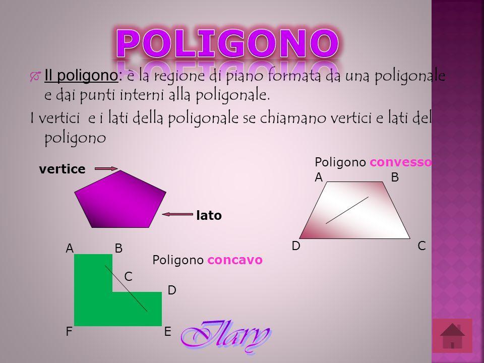 Il poligono: è la regione di piano formata da una poligonale e dai punti interni alla poligonale. I vertici e i lati della poligonale se chiamano vert