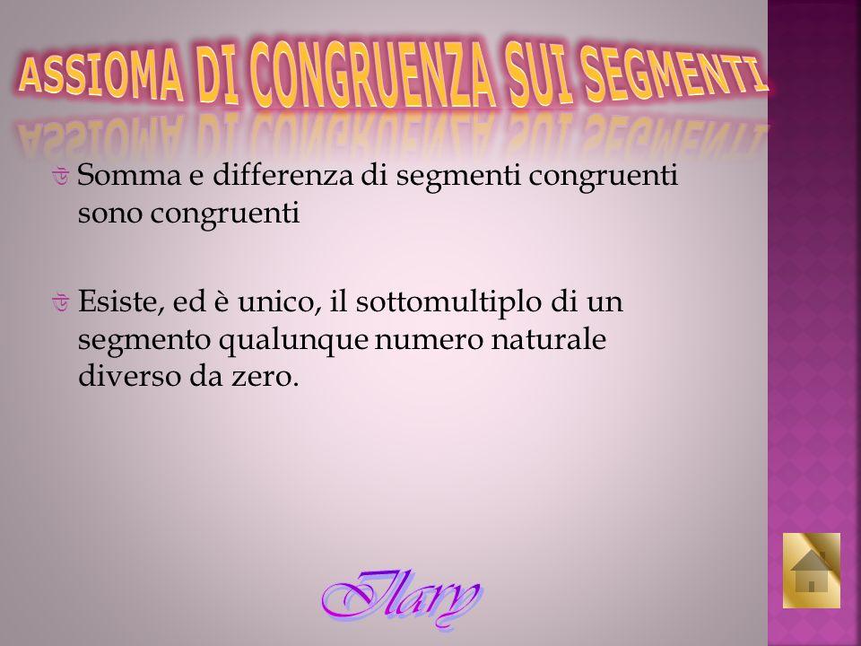Somma e differenza di segmenti congruenti sono congruenti Esiste, ed è unico, il sottomultiplo di un segmento qualunque numero naturale diverso da zer
