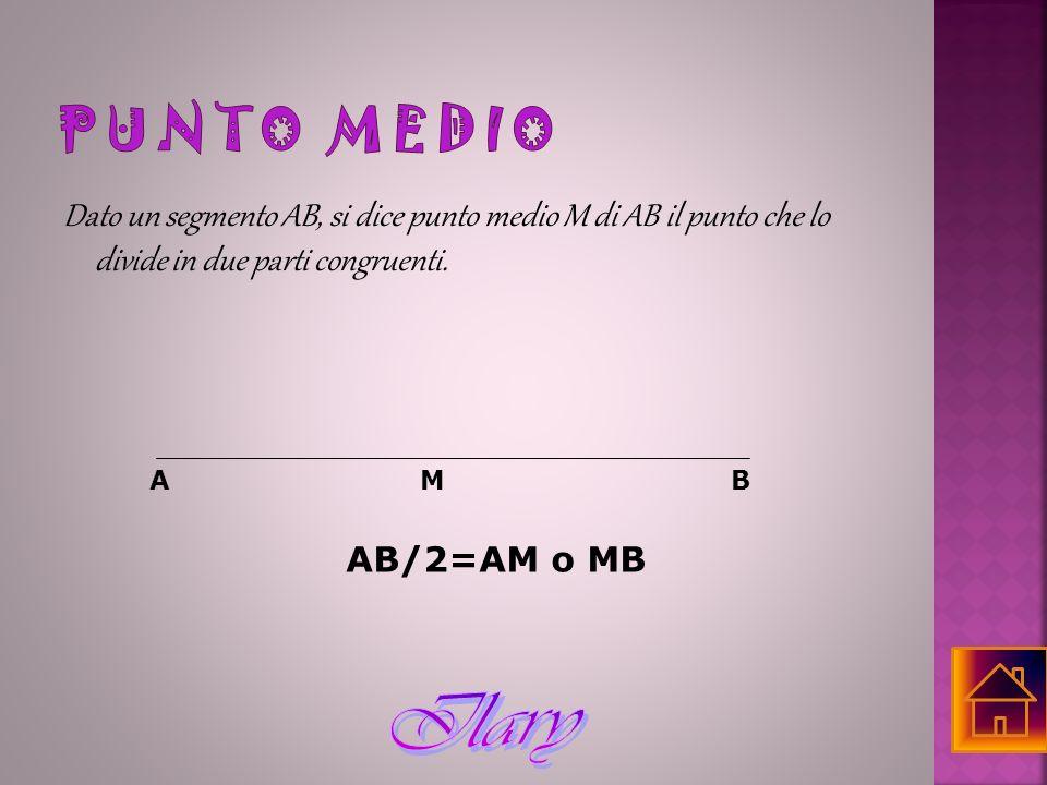 Dato un segmento AB, si dice punto medio M di AB il punto che lo divide in due parti congruenti. AMB AB/2=AM o MB