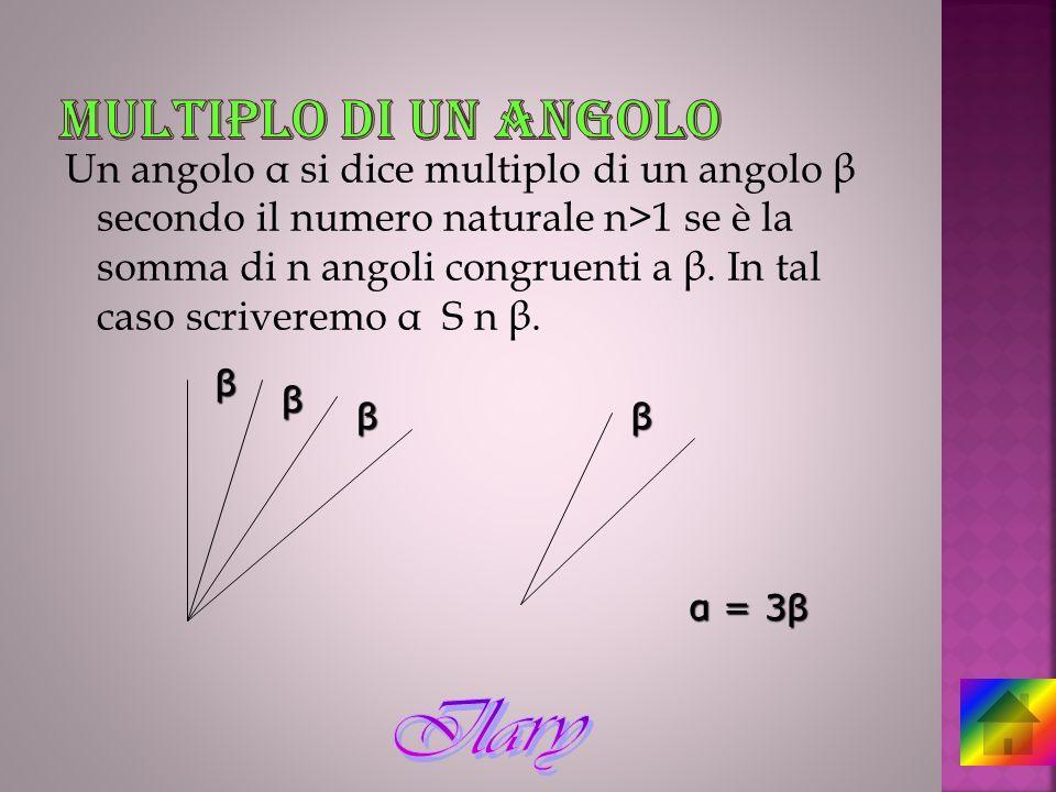 Un angolo α si dice multiplo di un angolo β secondo il numero naturale n>1 se è la somma di n angoli congruenti a β. In tal caso scriveremo α S n β. β