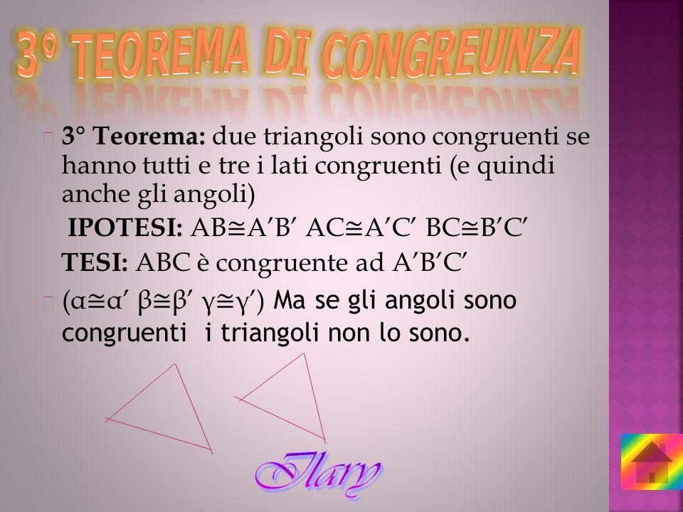 3° Teorema: due triangoli sono congruenti se hanno tutti e tre i lati congruenti (e quindi anche gli angoli) IPOTESI: AB AB AC AC BC BC TESI: ABC è co