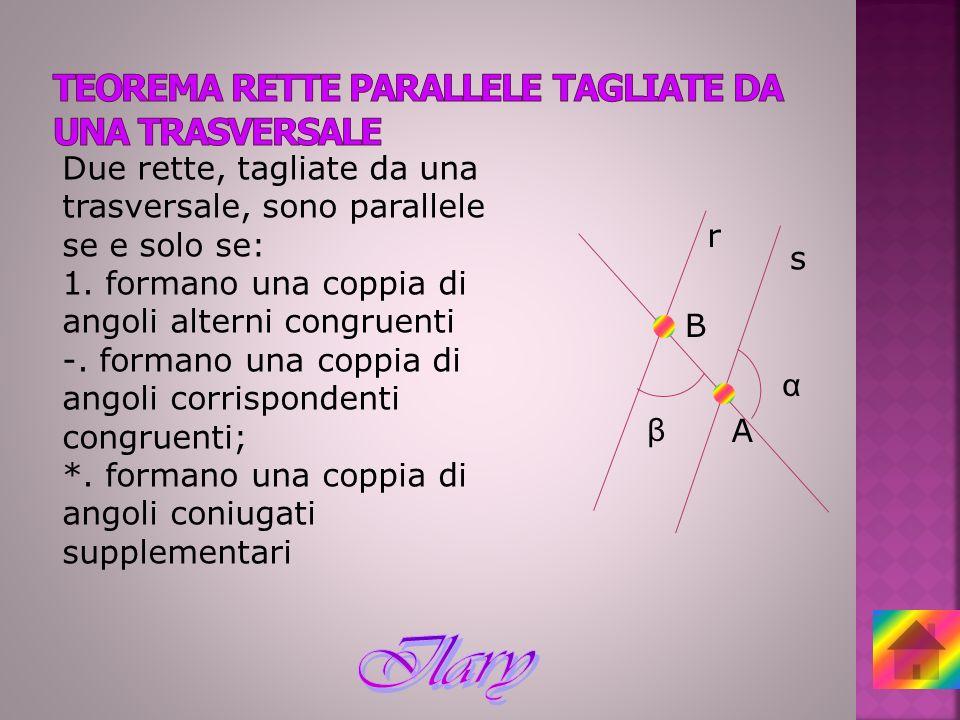 Due rette, tagliate da una trasversale, sono parallele se e solo se: 1. formano una coppia di angoli alterni congruenti -. formano una coppia di angol