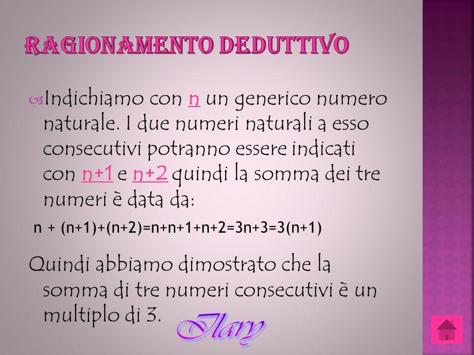 Indichiamo con n un generico numero naturale. I due numeri naturali a esso consecutivi potranno essere indicati con n+1 e n+2 quindi la somma dei tre