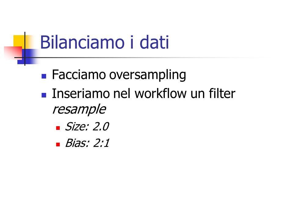 Bilanciamo i dati Facciamo oversampling Inseriamo nel workflow un filter resample Size: 2.0 Bias: 2:1