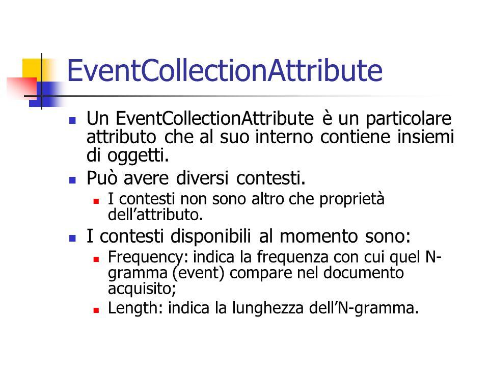 EventCollectionAttribute Un EventCollectionAttribute è un particolare attributo che al suo interno contiene insiemi di oggetti. Può avere diversi cont
