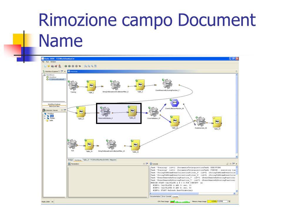 Rimozione campo Document Name