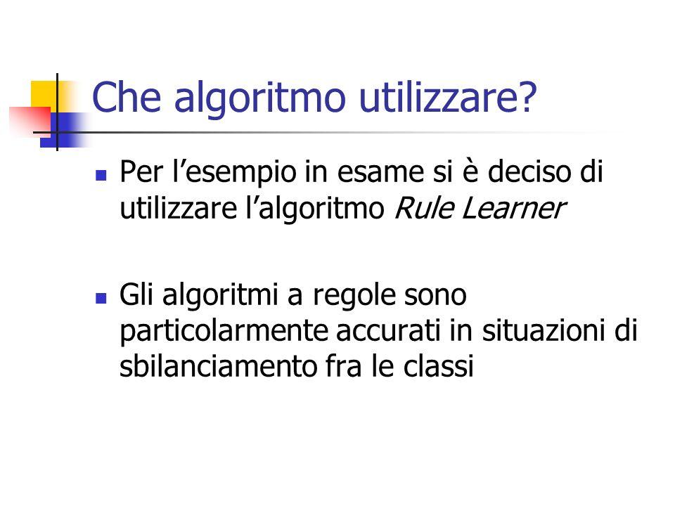 Che algoritmo utilizzare? Per lesempio in esame si è deciso di utilizzare lalgoritmo Rule Learner Gli algoritmi a regole sono particolarmente accurati