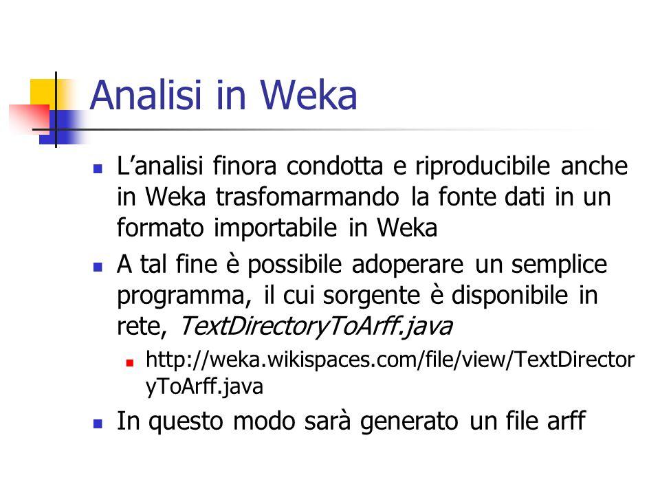 Analisi in Weka Lanalisi finora condotta e riproducibile anche in Weka trasfomarmando la fonte dati in un formato importabile in Weka A tal fine è pos