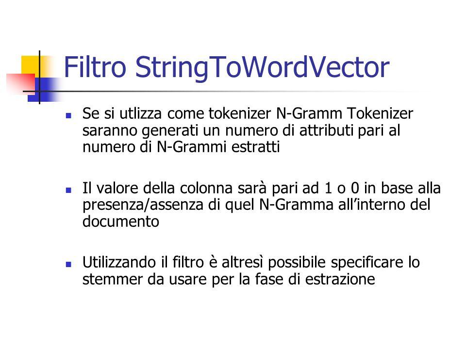 Filtro StringToWordVector Se si utlizza come tokenizer N-Gramm Tokenizer saranno generati un numero di attributi pari al numero di N-Grammi estratti I