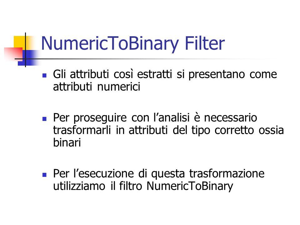 NumericToBinary Filter Gli attributi così estratti si presentano come attributi numerici Per proseguire con lanalisi è necessario trasformarli in attr