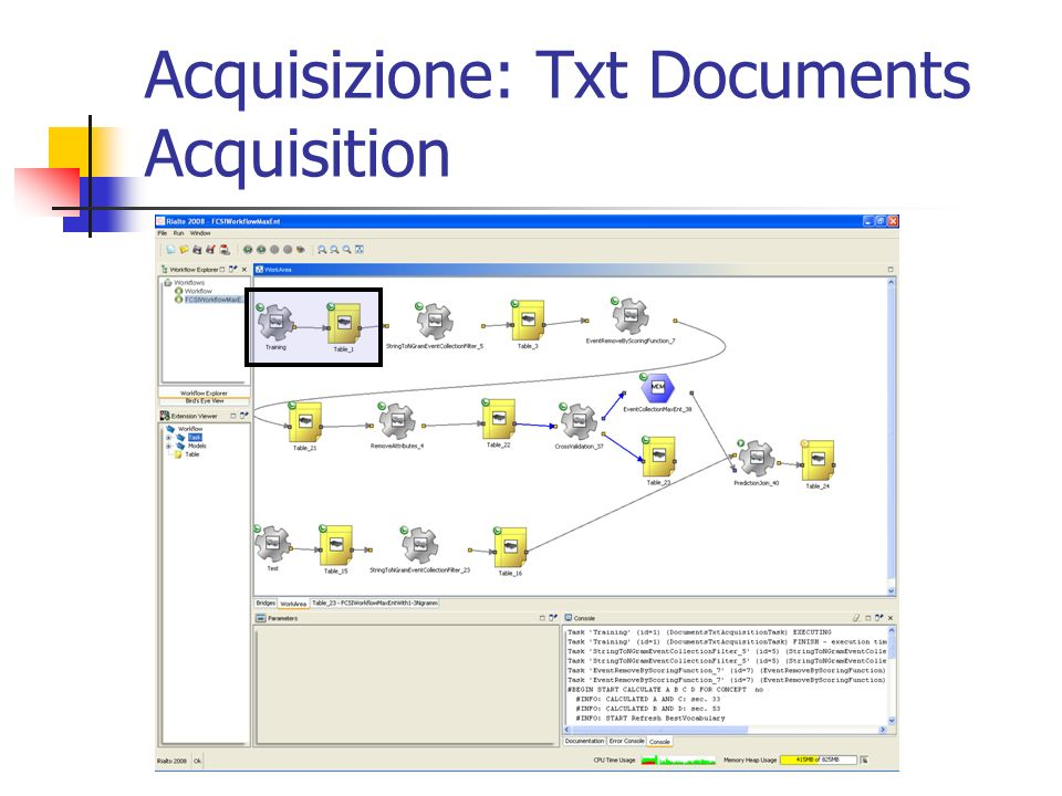 Acquisizione Si seleziona il folder con i dati, e si forza a Nominal il terzo attributo.