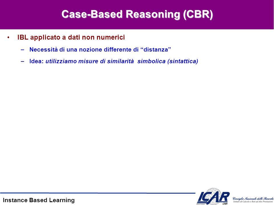 Instance Based Learning Case-Based Reasoning (CBR) IBL applicato a dati non numerici –Necessità di una nozione differente di distanza –Idea: utilizzia