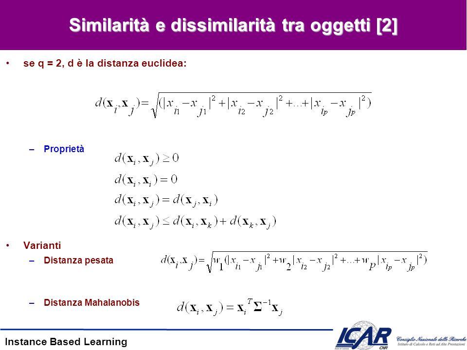 Instance Based Learning Similarità e dissimilarità tra oggetti [2] se q = 2, d è la distanza euclidea: –Proprietà Varianti –Distanza pesata –Distanza Mahalanobis