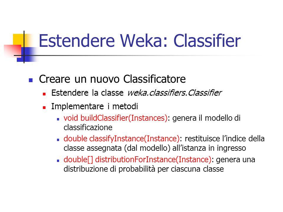 Estendere Weka: Classifier Creare un nuovo Classificatore Estendere la classe weka.classifiers.Classifier Implementare i metodi void buildClassifier(Instances): genera il modello di classificazione double classifyInstance(Instance): restituisce lindice della classe assegnata (dal modello) allistanza in ingresso double[] distributionForInstance(Instance): genera una distribuzione di probabilità per ciascuna classe